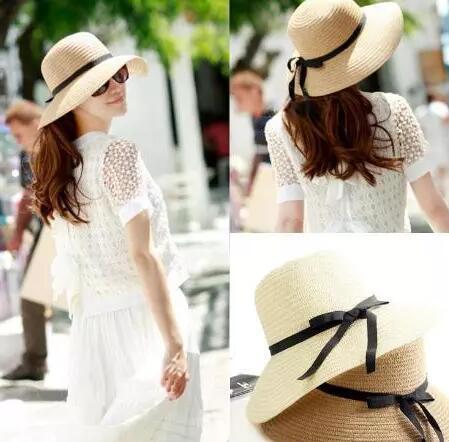 Старинные женщины широкими полями шляпы девушки подросток леди путешествия пляжный отдых соломы бантом ВС hat шапки мода соломы Cap пляж шапки 7 цветов