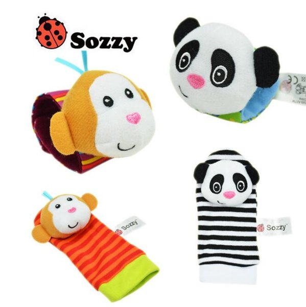 6 Styles 2pcs/set Baby Rattle Toys Zebra Plush Wrist Toys Kids Cute Foot Socks Cartoon Animal Wristband Baby Birthday Gifts CCA10118 5set
