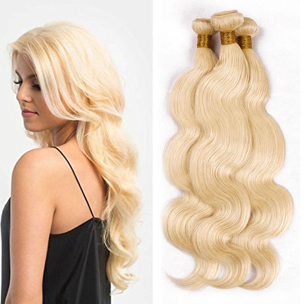 Chinese Virgin Human Hair 4 pcs blonde Hair Weaves Unprocessed 100% human Hair Extensions 613# color Body Wave