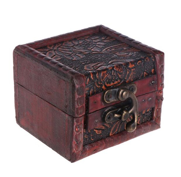 300pcs Vintage Jewelry Box Organizer Storage Case Mini Wood Flower Pattern Metal Container Handmade Wooden Small Boxes