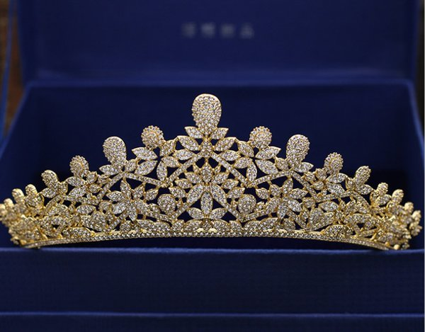 Luxury and high-end zircon micro gold crown hair wedding dress accessories banquet gift jewelry