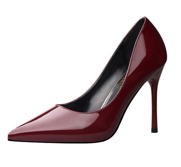 10 cm 4 Zoll hohe dünne Fersen pumpt Schuhe Frau XF130 Weinrot Gold Silber rot Hochzeit Partei Pumpen Schuhe sexy Punkt Zehen