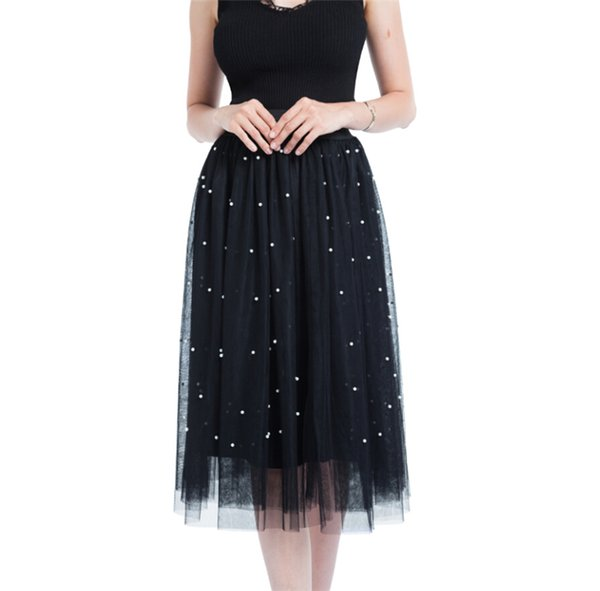 New Casual Women Summer Mesh Pearl Skirts High Waist Ladies Pleated Casual Loose Skirts Summer Clothes For Female