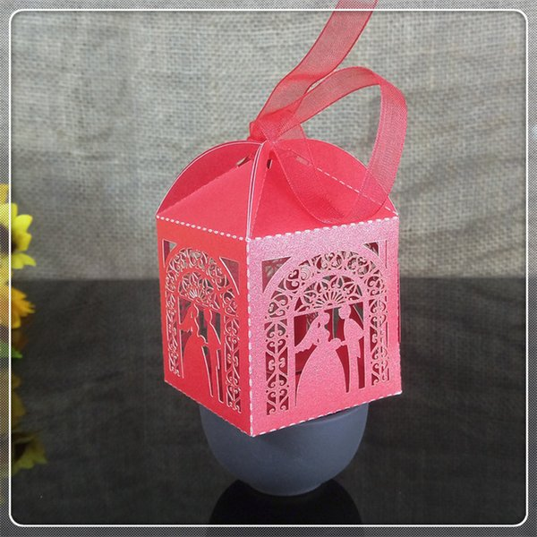 50pcs Groom Bridal Candy Box Gift Box with Ribbon Day Party Decoration Party Christmas Gift Decoration 5ZT12