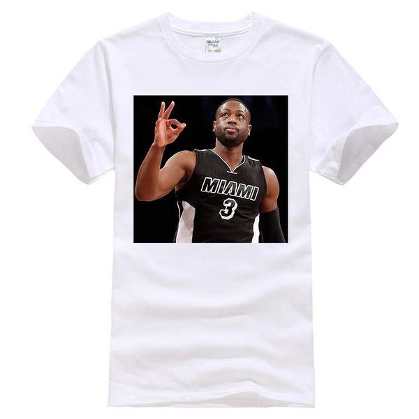 Dwyane Wade 3 maglietta Basketballer top tee uomo 100% cotone Dwyane Wade da firmare con la Chicago Mens T Shirt Summer O Neck 100% cotone