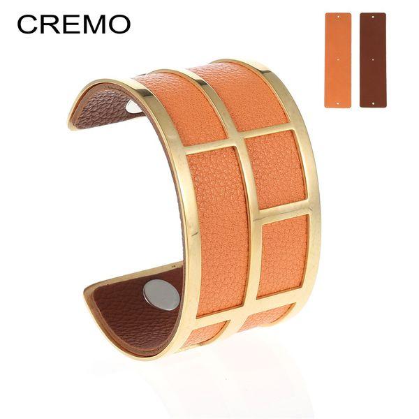 Cremo Charm Fashion Manschette Armreif Bijoux Femme 40mm Edelstahl Armbänder Gold Austauschbar Reversible Lederband Schmuck