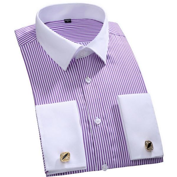 French Cuff Button Men Dress Shirts 2016 New Winter Formal Brand Non Iron Luxury Long Sleeve Business Fashion Shirts E1246 C18111601