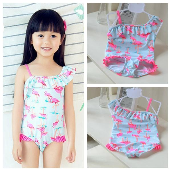 ac80020be1 Flamingo print toddler kids baby girl bikini swimsuit bathing suit beach swimwear  baby girls swan swimwear