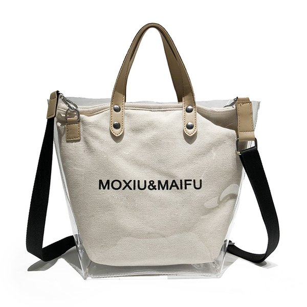New Fashion Transparent Canvas Large Capacity Letter Printed Women Bucket Totes White Black Ladies Shoulder Cross Body Bags
