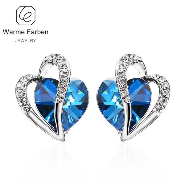 WARME FARBEN Cristal De Swarovski Boucles D'oreilles pour Femme Bleu Coeur Cristal Goujon Boucle D'oreille Fine Jewelry 925 Sterling Sliver Brincos D1892004