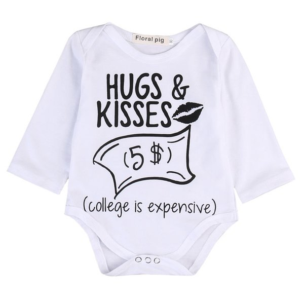 Newborn Baby boys Girls Funny Letter Hug Kiss Bodysuits onesie Infant Babies Kids Cute Bodysuit one-pieces Outfits Kids Clothing