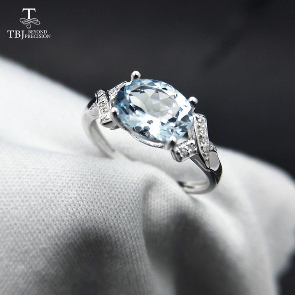 TBJ,100% natural Brazil aquamarine ov6*8 1.3ct gemstone ring in 925 sterling silver precious stone jewelry with gift box Y1892606