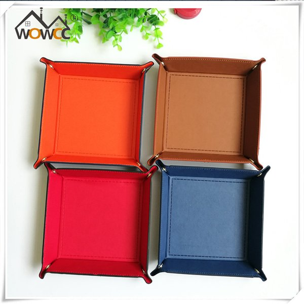 1pc PU Leather Valet Coin Key Trinket Tray Dice Rolling Tray for Serving Collapsible Key Wallet Coin Box Storage Box Bins