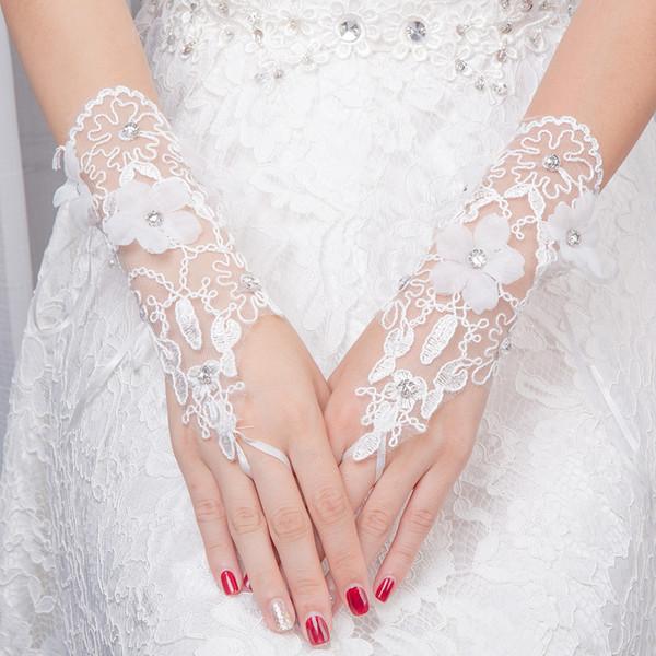 JaneVini 2018 White Wedding Gloves Fingerless Below Elbow Length Beaded Handmade Flower Tulle Women Short Bride Gloves for Wedding Hot Sale