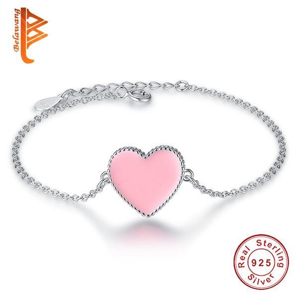 Authentic 925 Sterling Silver Bracelet Baby Kids Girl Pink Heart Enamel Hearts Gift Children Jewelry