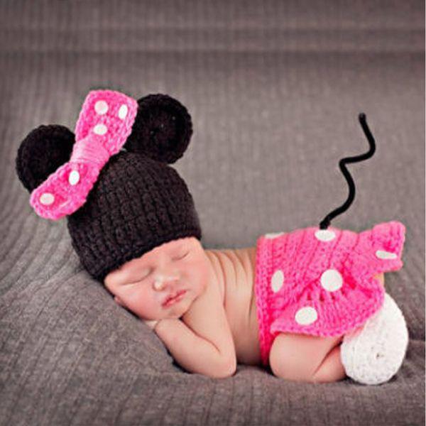 Traje de Crochê recém-nascido Do Bebê Das Meninas Dos Meninos Fotografia Props Infantil Tricô Adereços Foto Kid Dos Desenhos Animados Roupas Bonitos com Sapatos chapéu