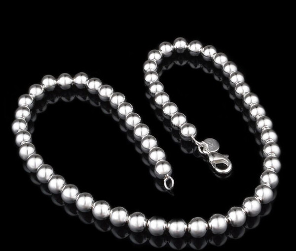 Free Shipping with tracking number Best NEW 925 STERLING SILVER 4MM 6MM 8MM 10MM Sliver Solid Ball ROUND CHAINS NECKLACES JEWELRY HJ189