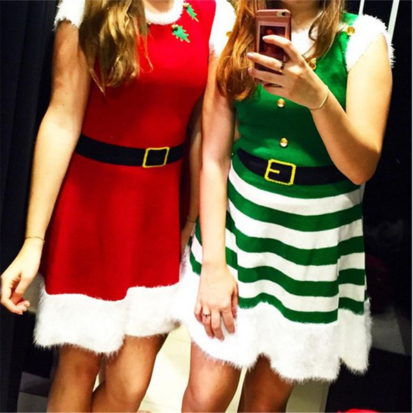 2018 Christmas Dress For Women Lovely Mrs Santa Claus A Line Dress Xmas Cosplay Stripe Green Elves Femme Party Costume Gift