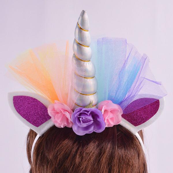 Colorful Mesh Unicorn Hair Hoop Unicorn Horn Flowers Headwear For Kids Birthday Party Girls Hair Rope Kids Tiara Hair Accessorie