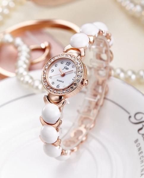 Fashion Simulated Pearl Strap Watch Women Rhinestone Small Dial Bracelet Watch Quartz Wrist Clock