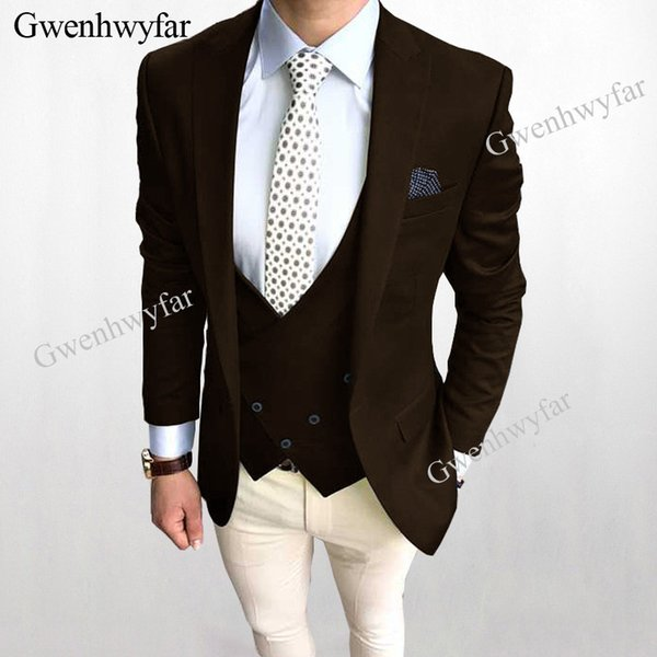 Gwenhwyfar New Fashion Men Suits Mix and Match Brown Blazer Vest Ivory Pants Wedding Groom Tuxedos 3 Pieces 2018 Suits For Men