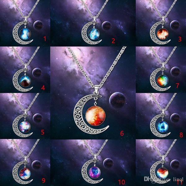 Necklaces Pendant Swarovski Elements Fashion Jewelry Cheap New Vintage Starry Moon Outer Space Universe Gemstone Pendant Necklaces KKA1761