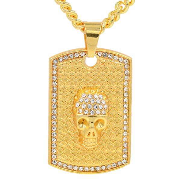 Hot Sale Crystal Hip-hop Crystal Skull Tag Pendant Hip Hop Street Dance Performance men's Necklace Rap Jewelry