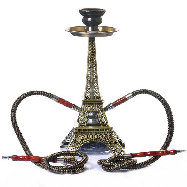 New Luxury Narghilè Shisha Forma Torre Eiffel Pipa da fumo Due Kit tubo flessibile Design innovativo Piacere di alta qualità Torta calda di alta qualità DHL Libero