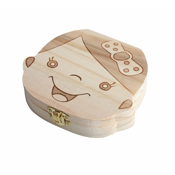 Wood Baby Girl Boy Tooth Organizer Boxes Save Deciduous Teeth Storage Keepsakes Announcements Collecting Gift Creative