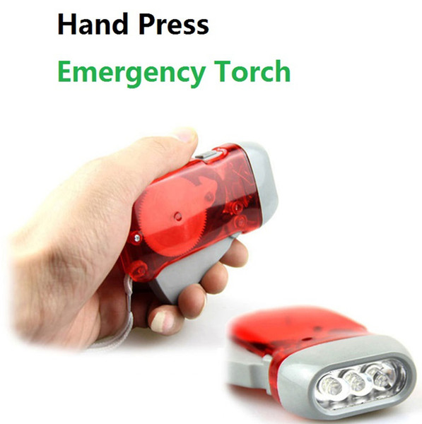 3LED Emergency Torch Hand Press Camping Light Torches Energy-saving Flashlight Dynamo Night Light Outdoor Hand Press Crank Torches