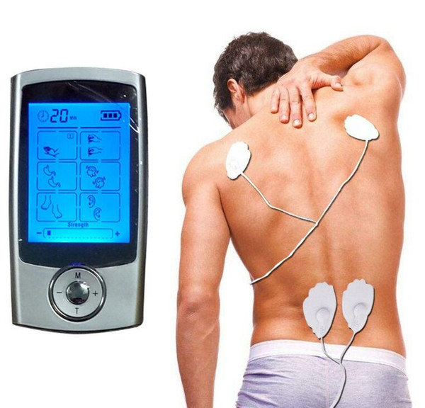 16 Modes TENS Unit Digital Electronic Pulse Massager Therapy Muscle Full Body Mini Acupuncture Magnetic Therapy Tens Massage Silver Blue