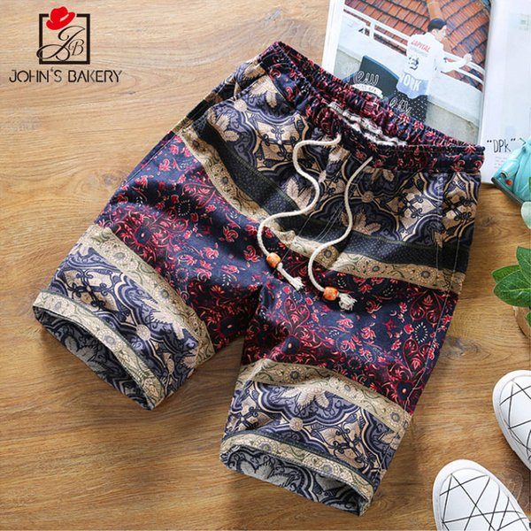2017 Mens Shorts Casual Bermuda Brand Personality Pattern Compression Male Cargo Shorts Men Linen Fashion Men Short Summer Linen
