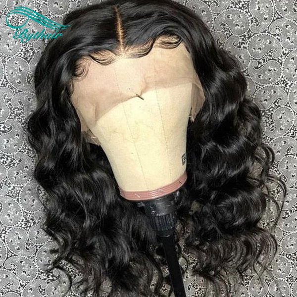 Bythair Human Hair Full Lace Wig Water Wave Short Bob Wig Pre Plucked Hairline Brazilian Virgin Hair 150% Density Lace Front Wig Glueless