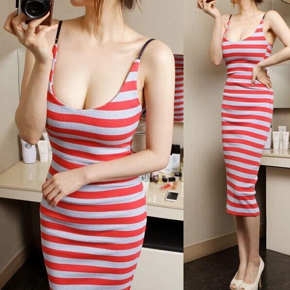 Леди сексуальные повседневные платья скольжения женщина мода свободный размер полосатый рисунок совок шеи тонкий середины голени один