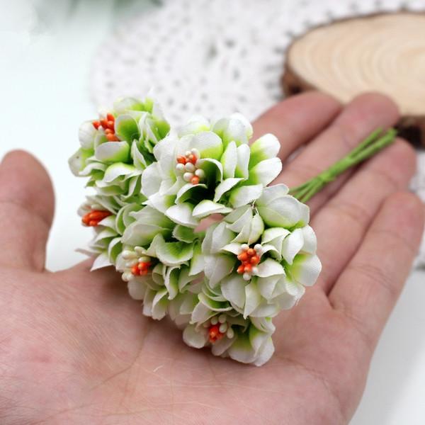 Seta gradiente stame artificiale fiori fatti a mano bouquet per la decorazione domestica di nozze fai da te scrapbooking corona fiori finti 6 pz / lotto