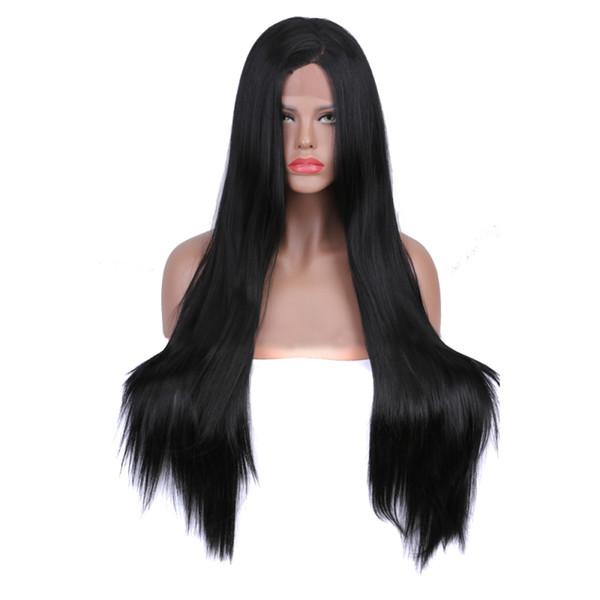 26 dans long noir soyeux droite synthétique avant de lacet perruques perruque de cheveux résistant à la chaleur sans colle pour les femmes afro-américaines