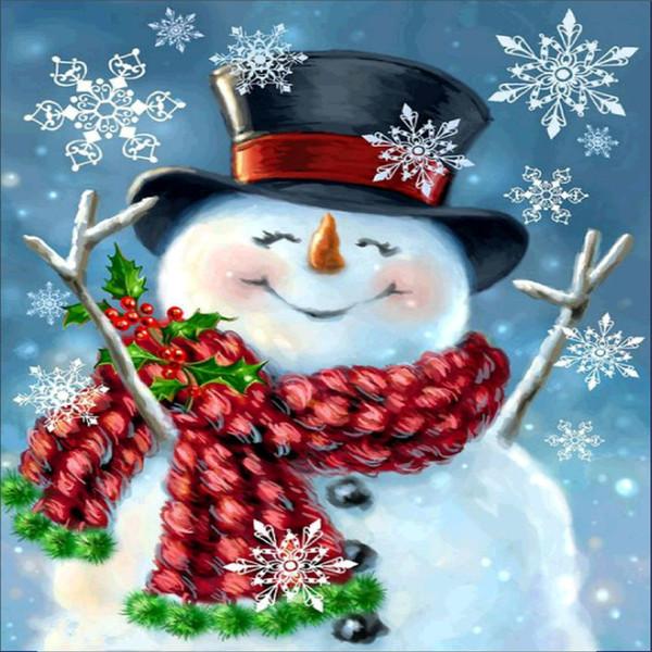 top popular DIY Round Full Diamond Painting snowman Christmas Embroidery Cross Stitch Home Decor Picture Rhinestones Full Square Diamond 2021