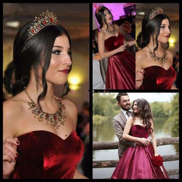 2018 Evening Dresses vestidos de fiesta Sweetheart Burgundy Wine Red Velvet Satin Prom Dress Ball Gown Formal Long Party Gowns