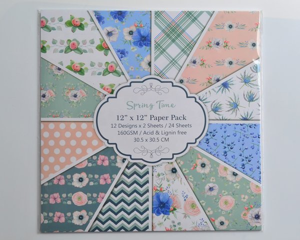 """DIY Album Photo Scrapbooking set Decorative Papers Spring time Craft paper 12""""inch X 12"""" inch Single Side Printed 24 pcs/Set"""