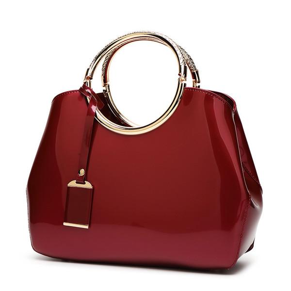 Borsa da sposa rossa 2018 nuove eleganti borsette da donna in pelle lucida borsa messenger bag in vernice lucida