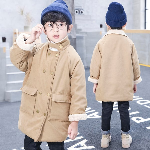 2018 New Baby Boys Winter Thick Warm Jackets Kids Casual Long Coats Outerwear Down Cotton-Padded Solid Winter Coats For Kids
