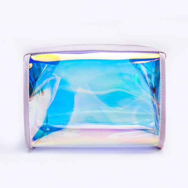 Transparent Cosmetic Bags Laser Dazzle Color Makeup Pouch TPU Beauty Case Vanity Make Up Bag For Women Travel Organizer Kit etui