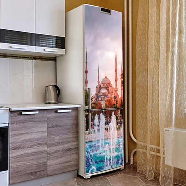 3D New Creative Islam Mosque Castle Fountain Building Fridge Sticker PVC Refrigerator Door Kitchen Self-adhesive Waterproof Removable Decor