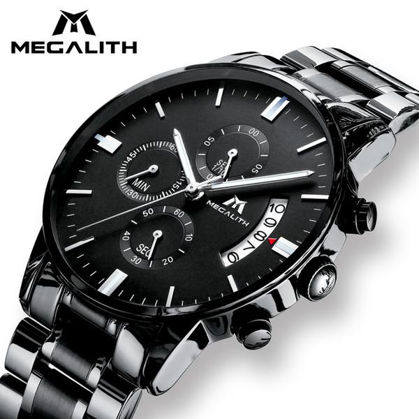 MEGALITH Men's Watch Luxury Date Calendar Chronogra Watch For Men Waterproof Sports Black Stainless Steel Wrist Watches