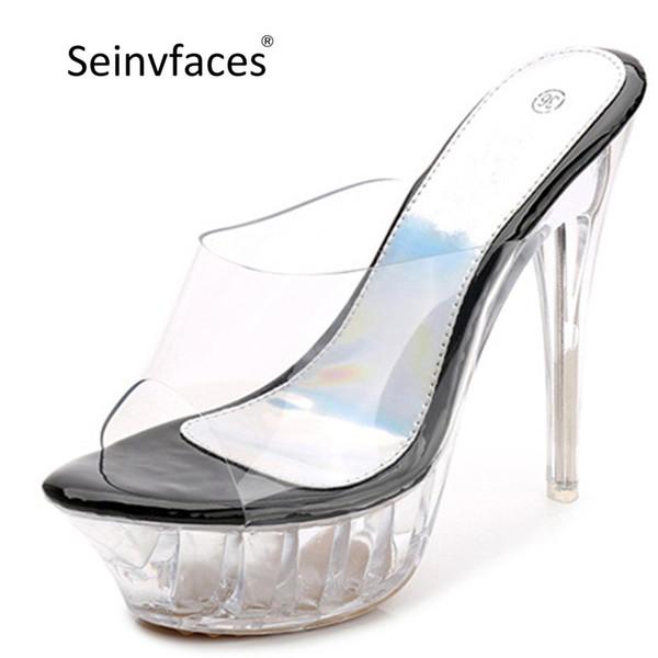 Plus size 40 41 42 43 women's summer sexy catwalk pole dance crystal transparent platform thin high heels slides slippers F18