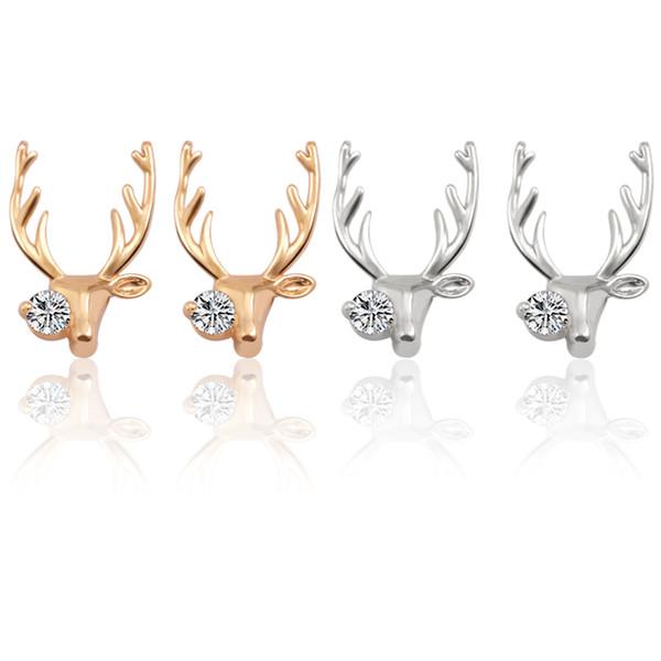 Cute Aimal Earrings For Women Rhinestone Deer Earrings For Girls Crystal Metal moose Gold Silver Elk Earing Christmas Xmas Gift