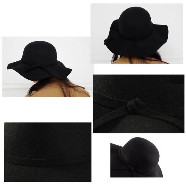 NEW Stylish Kids Girls Wide Brim Retro Felt Bowler Floppy Cap Cloche Hat-black