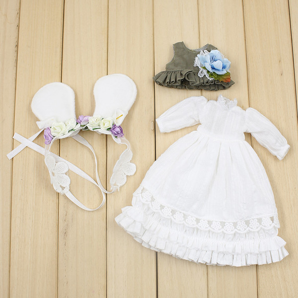 blythe factory Fortune Days Blyth doll Mori Girl style White dress,Hair decoration,waistcoat Super natural dressing Factory Blyth