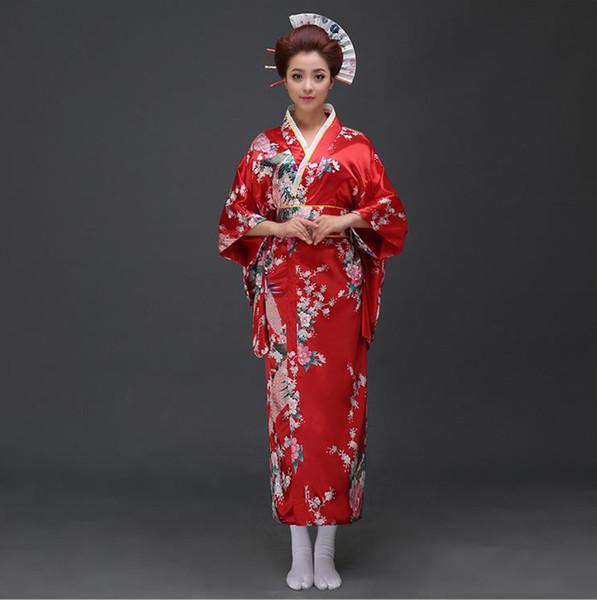 promoción Venta de liquidación compra venta Compre Rojo Tradicional Mujeres Seda Satin Kimono Yukata Con Obi  Performance Dance Vestido Japonés Cosplay Traje Flor Un Tamaño B 022 A  $35.99 Del ...
