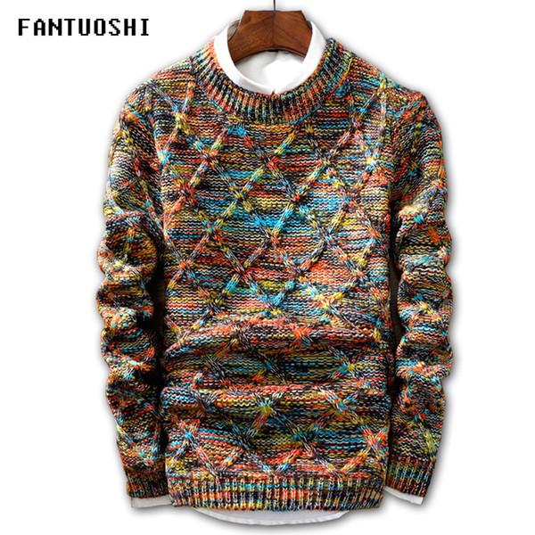 Großhandel Pullover Männer Marke Mode Pullover Pullover Männlichen Oansatz Streifen Slim Fit Strick Herren Pullover Mann Pullover Männer XXL Von